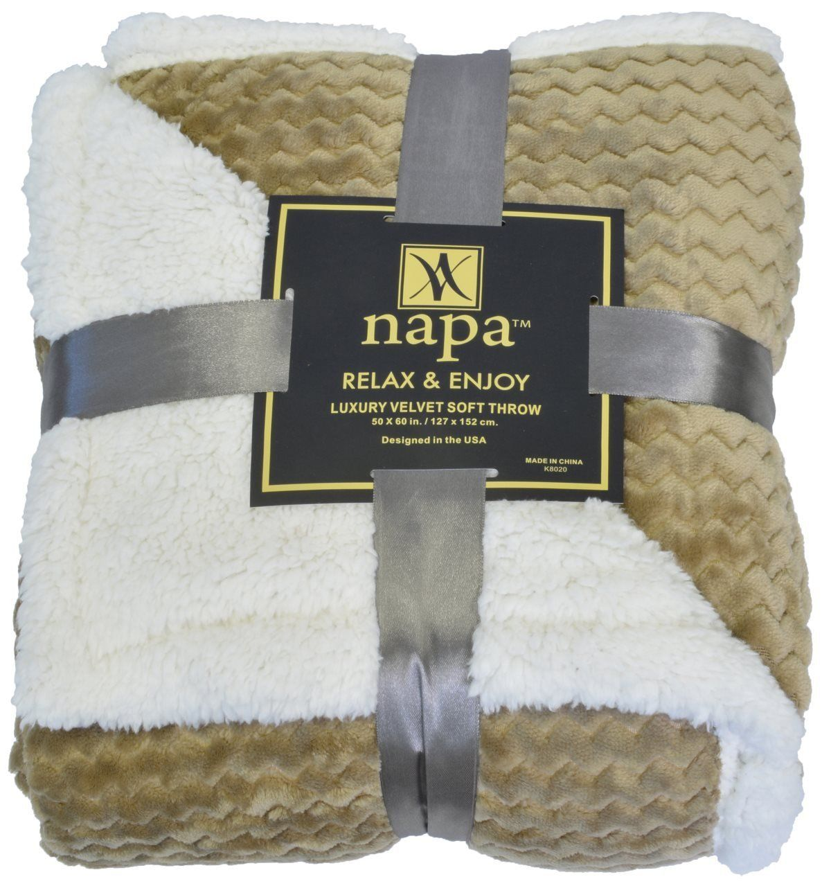 Napa super soft sherpa throw blanket mocha chevron