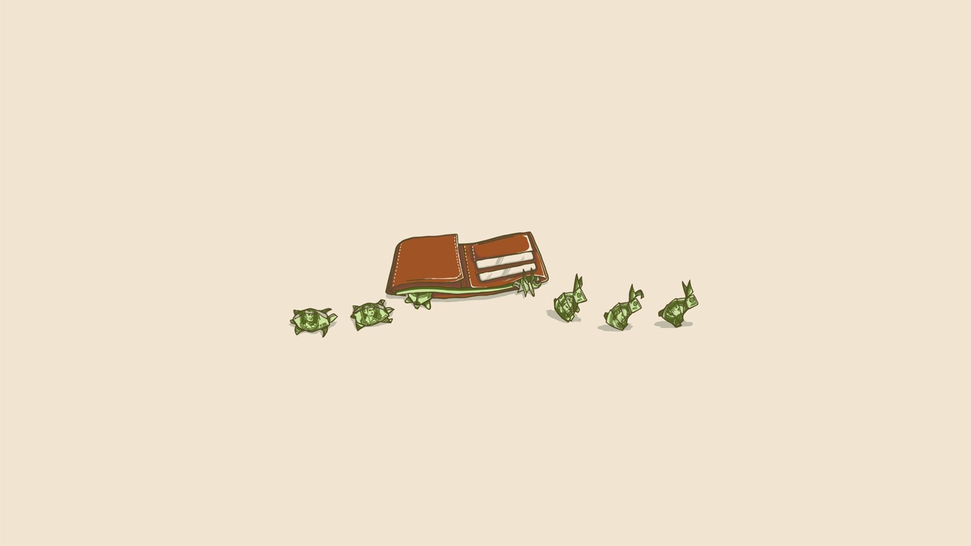 Dummy Money Turtles Bunnies Minimalist Desktop Wallpaper
