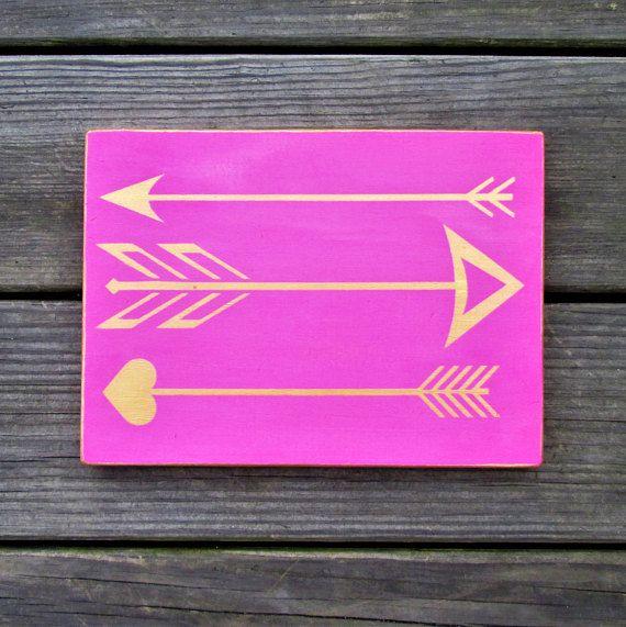 Bohemian Arrow sign pink gold Boho wood wall plaque arrows