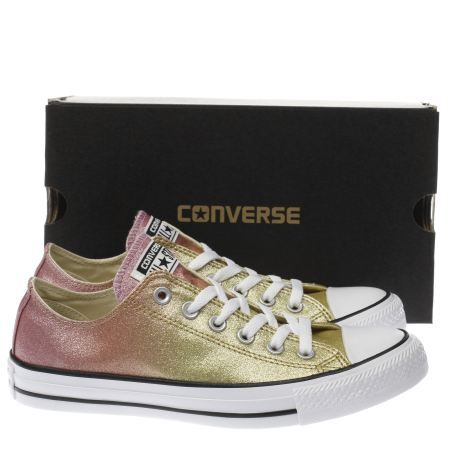 womens converse gold all star ombre glitter ox trainers