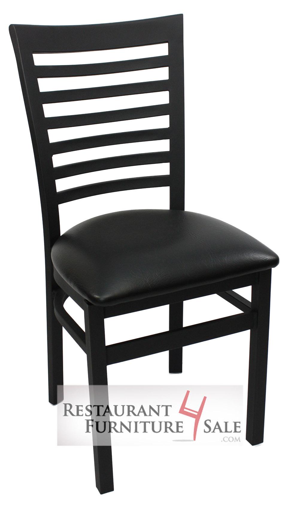 Bon GLADIATOR Commercial Full Ladderback Restaurant Chair W/ Black Vinyl Seat