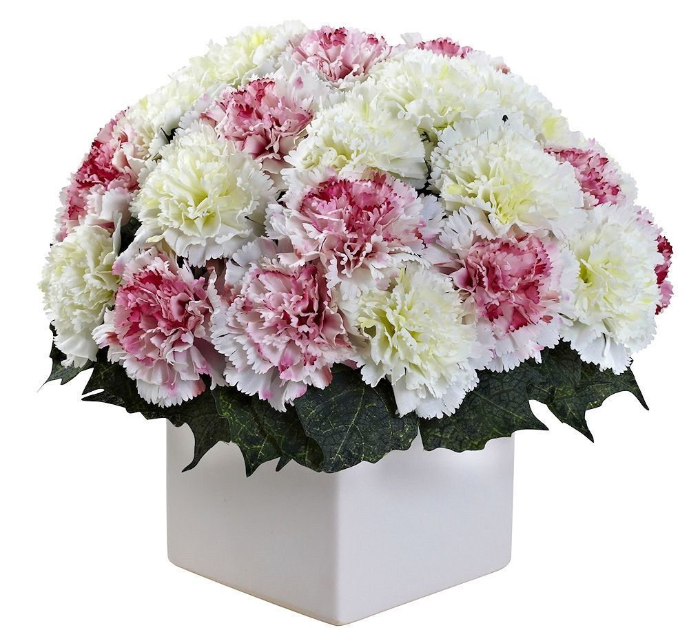 Carnation Silk Arrangement With Planter In 10 Colors 11 Inches