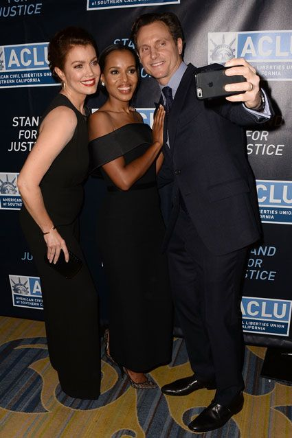 The Scandal co-stars stopped to snap a group pic while walking the red carpet at ACLU SoCal's Bill of Rights Dinner at the Beverly Wilshire Four Seasons Hotel in Beverly Hills, California on Nov. 8, 2015.