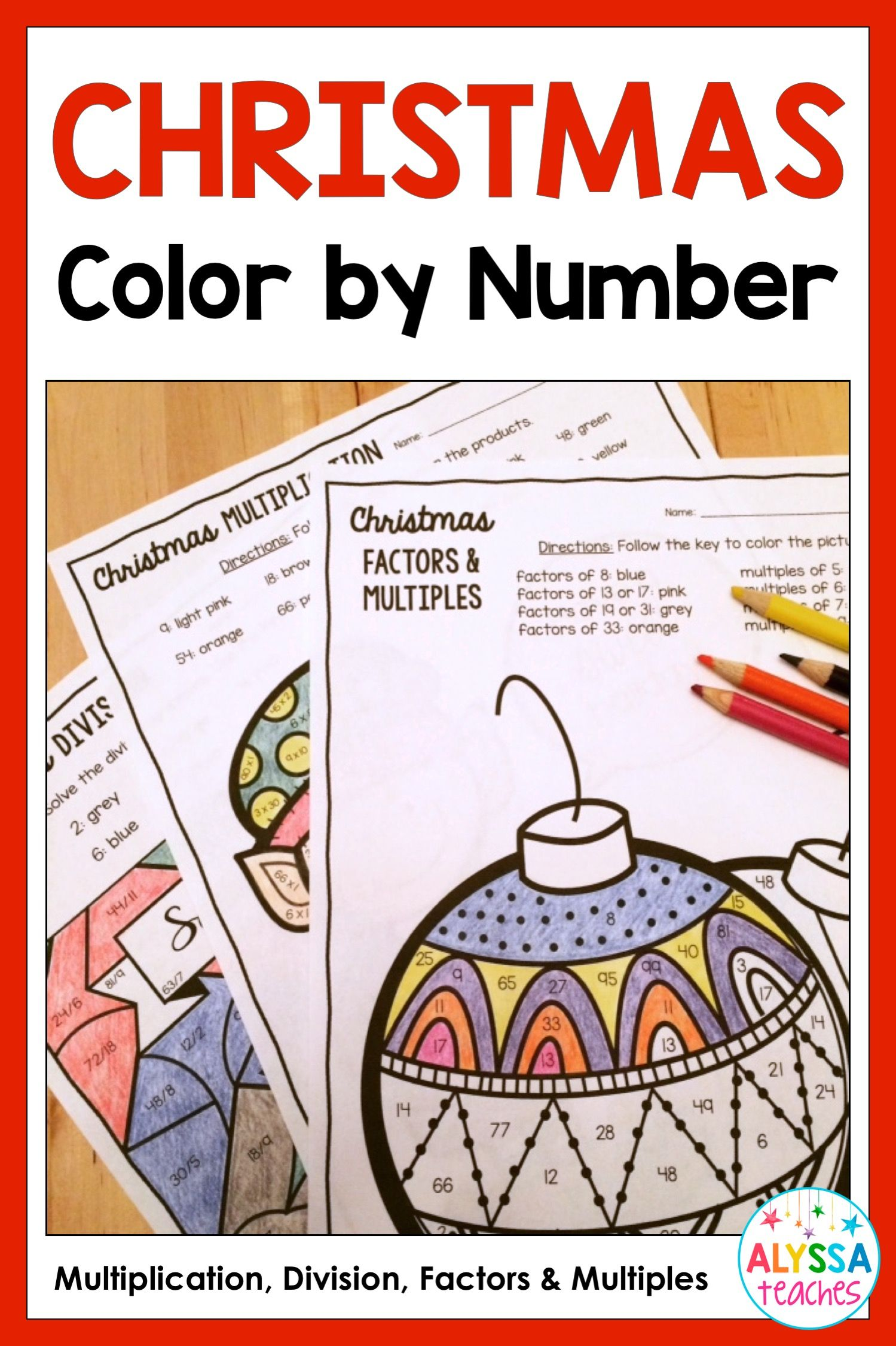 Christmas Color By Number Multiplication Division And