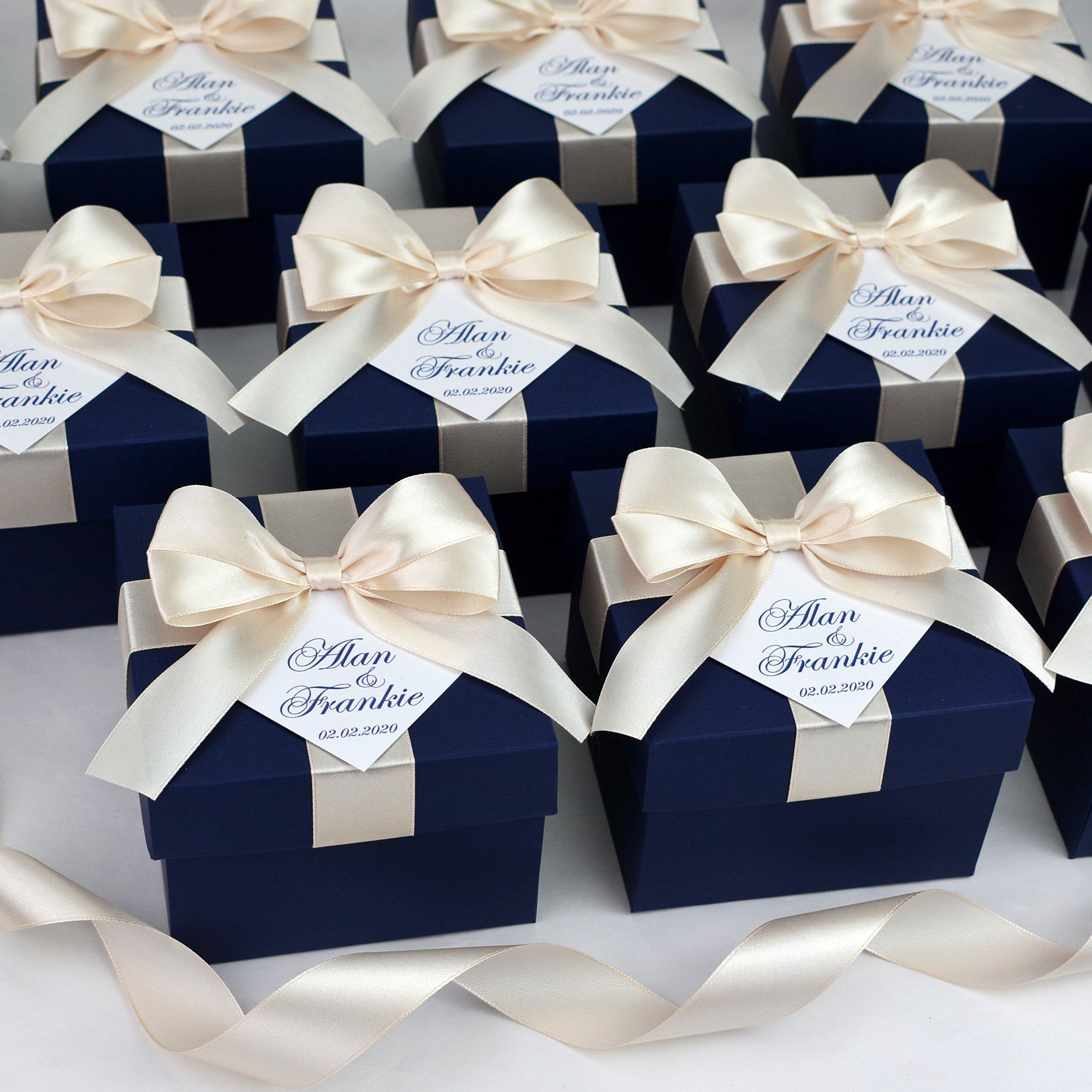 60 Navy Blue & Champagne Wedding favor boxes with satin | Etsy