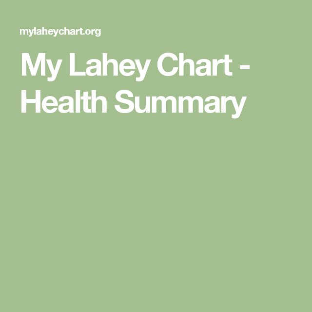 My Lahey Chart Health Summary Chart Health Login Page