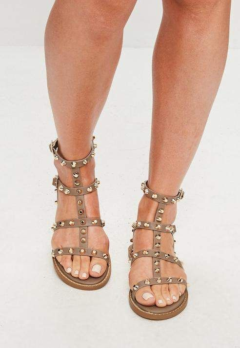 7ad4da69b24 Missguided Brown Studded Gladiator Sandals in 2019 | Want | Flat ...