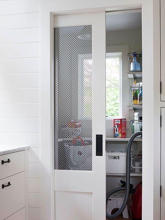This Closet Features A White Chicken Wire Pocket Door