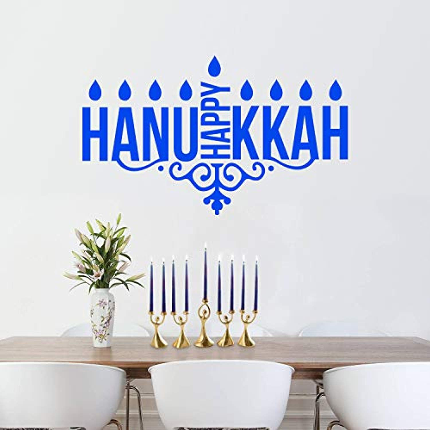 Vinyl Wall Art Decal Happy Hanukkah Candles 23 X 38 Jewish Holiday Menorah Candle Holder Shape Deco Vinyl Wall Art Decals Decal Wall Art Vinyl Wall Art