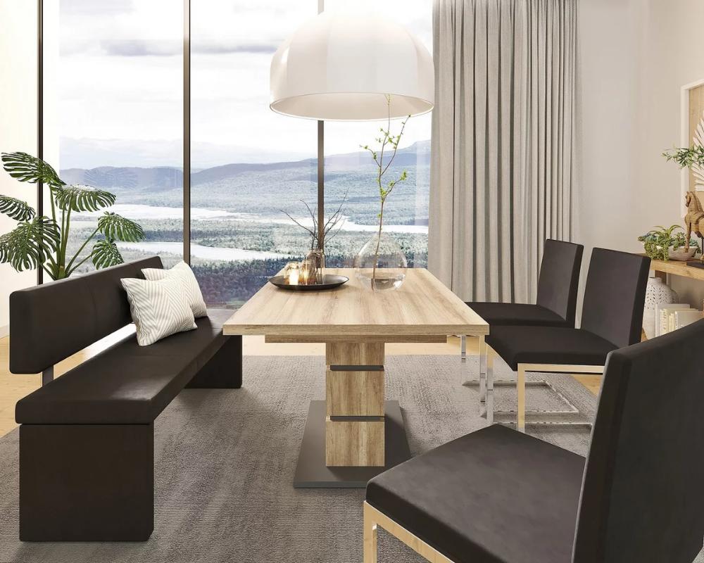 Sitzbank Gepolstert In Schwarzem Lederlook In 2020 Sitzbank Gepolstert Haus Sitzbank