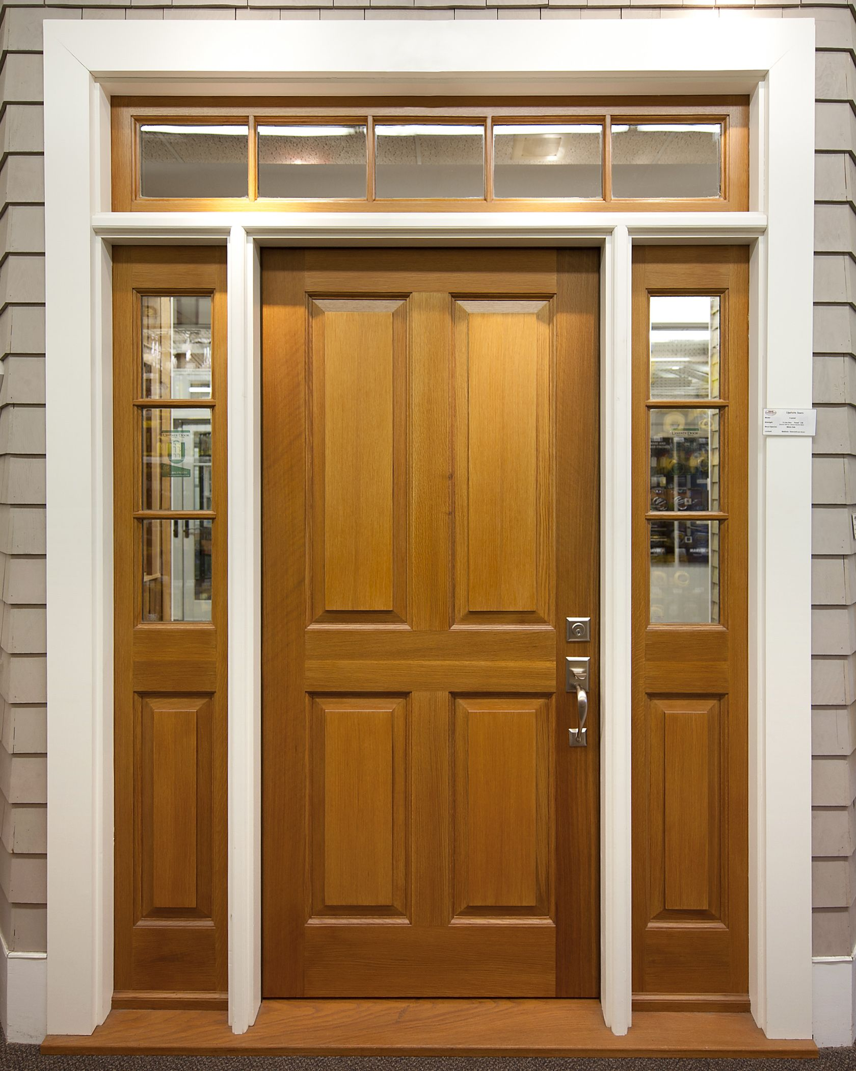 4 Panel Exterior Door With 3 Lite Over 1 Panel Sidelites 5 Lite Transom To Complete The Custom Exterior Doors Interior Exterior Doors Sliding Doors Interior