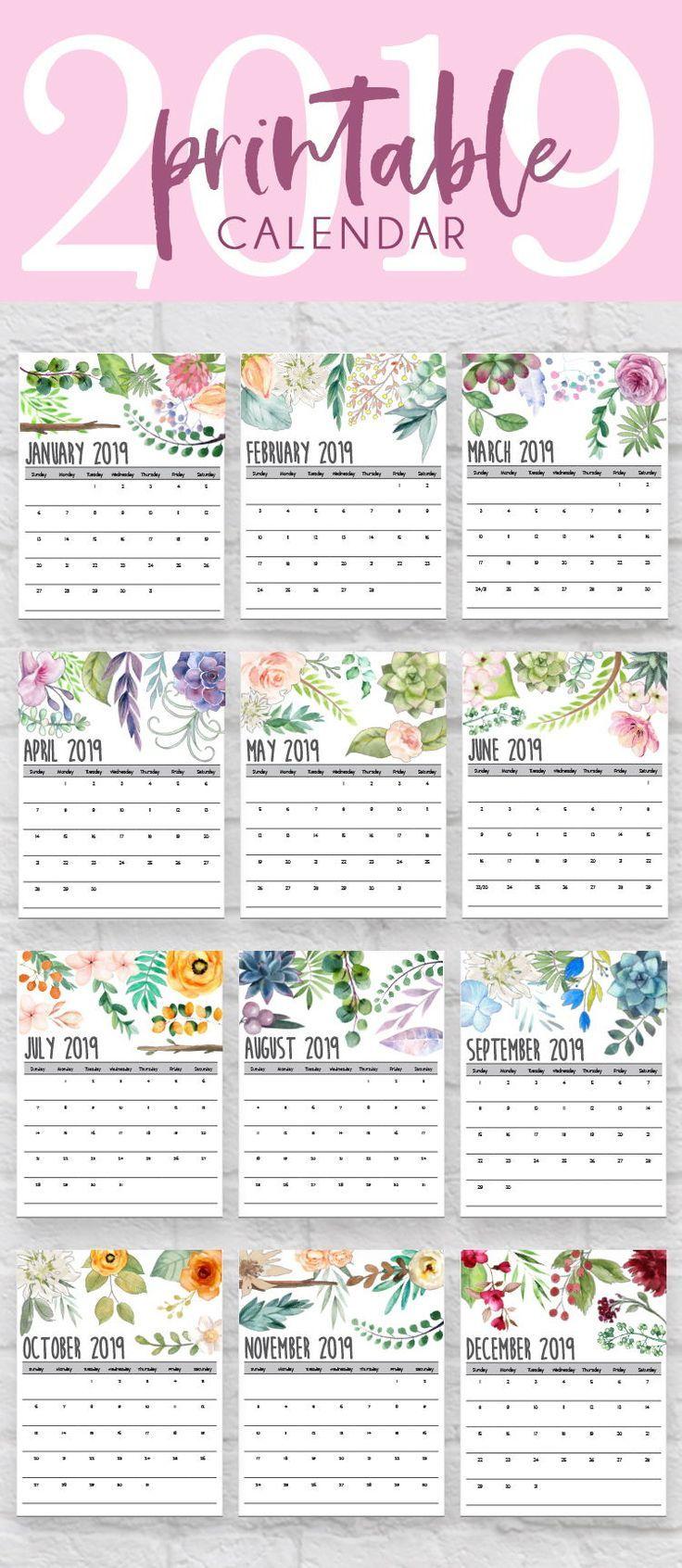 2019 Calendar, 2019 Printable Calendars, 2019 Printables, Printable Calendars, Desk Calenda ...