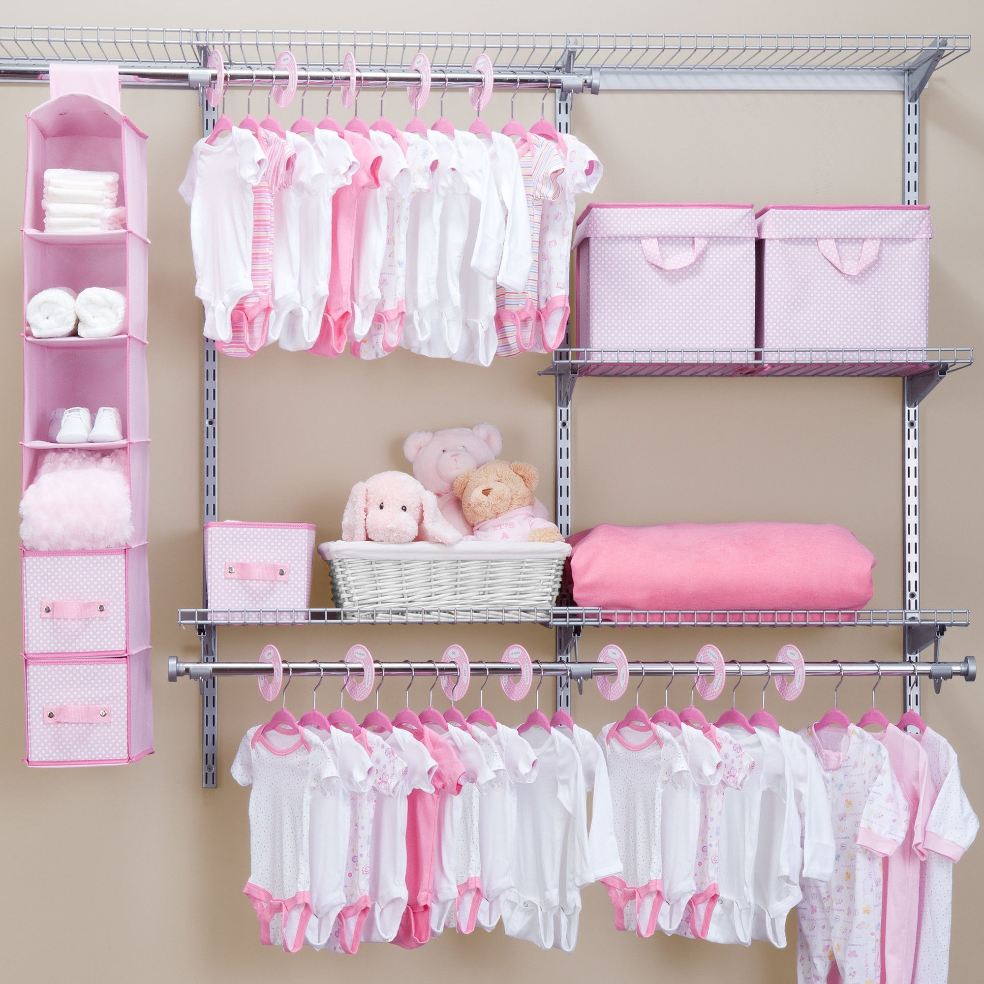 Features: -30 Slim-design, flocked-velvet hangers. -12 Closet dividers. -3 Small storage bins. -2 Large storage bins . -Six- shelf organizer. -Primary Material: Metal. Product Type: -Hanging Or