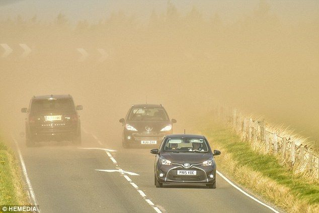 These images of motorists struggling through a thick yellow sheet of sand were taken in El...