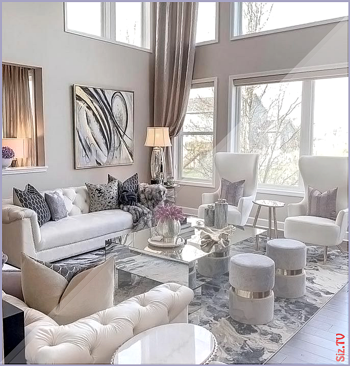 Cozy Modern Glamour White Living Room Decor With White Tufted Sofa Cozy Decor Glamour White Living Room Decor Romantic Living Room Tufted Sofa Living Room