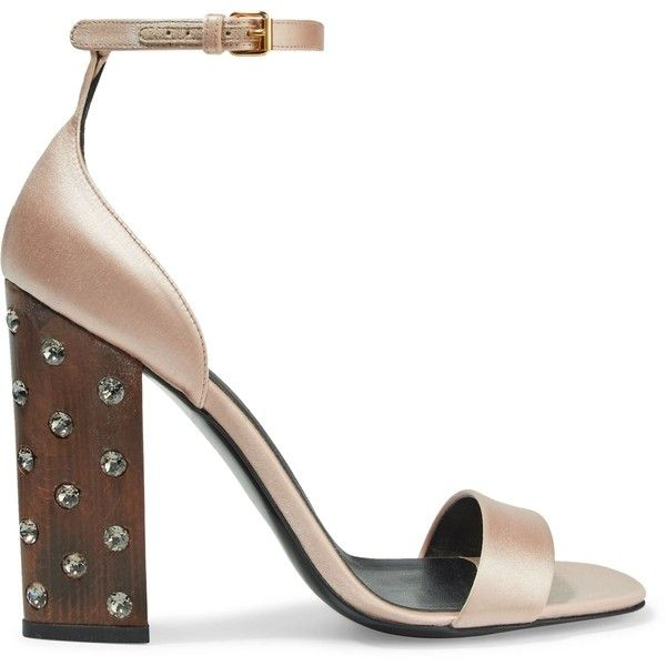 Stella McCartney Woman Crystal-embellished Satin Sandals Pastel Size 39 1hSv6WG