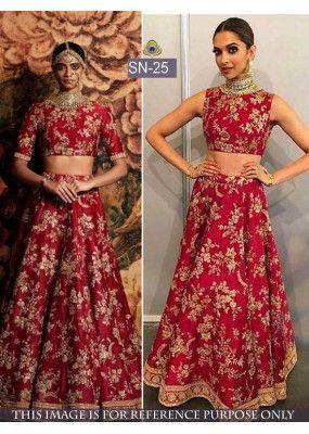 Bollywood Replica Deepika Padukone In Dark Red Silk Lehenga Choli Sn 25 Indian Lehenga Lehenga Choli Indian Bridal Lehenga