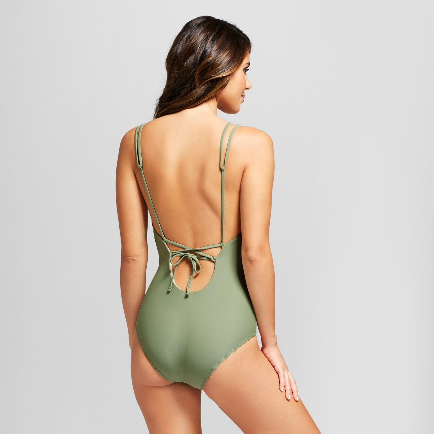 c378c616159 Vanilla Beach Women's Strappy Cheeky Lace-Up One Piece Swimsuit - Olive  Heather S #Strappy, #Cheeky, #Women