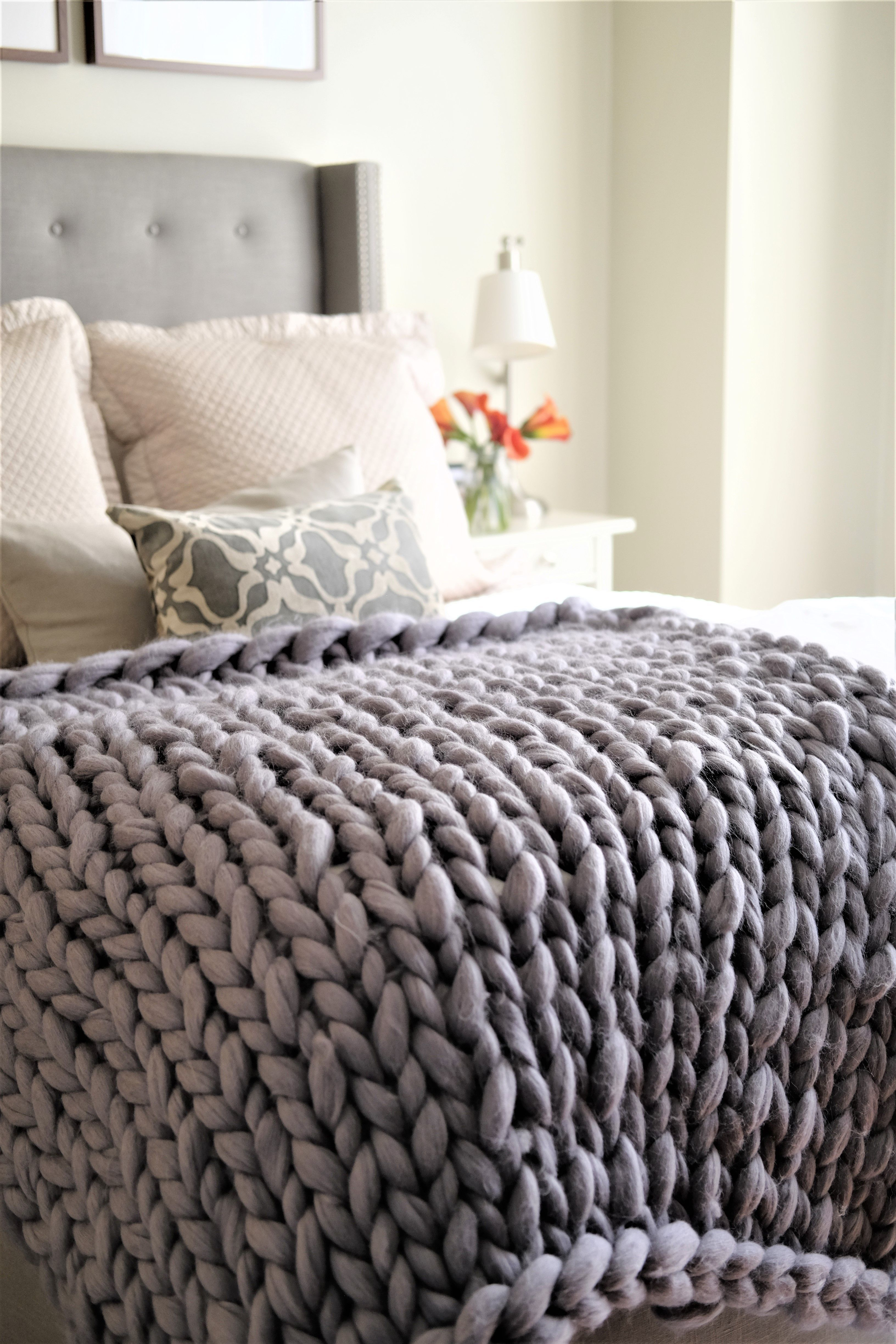 Felted Merino Wool Blanket No Shedding Perfect For Every Day Use Arm Knitting Blanket Knitted Blankets Chunky Knit Blanket