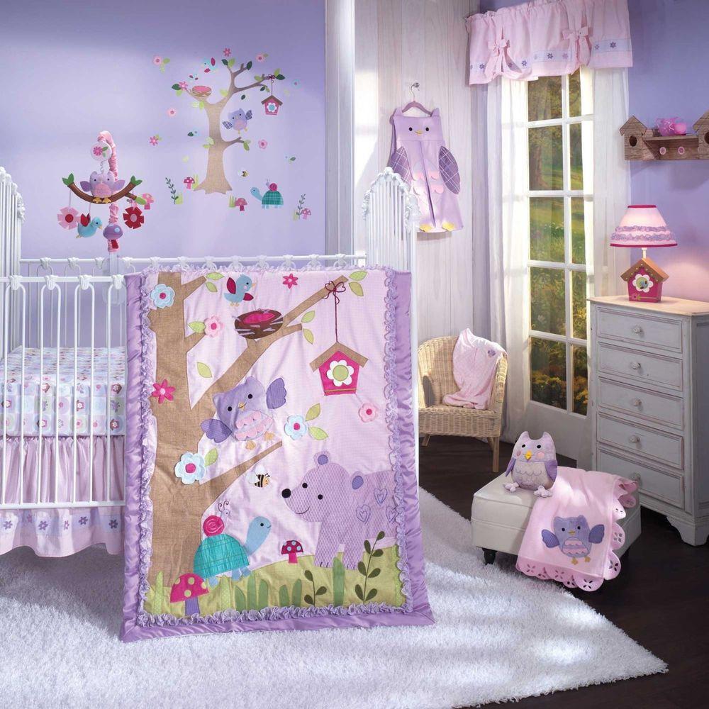 Owl Mystic Forest Pink Purple Polka Dots Baby S Nursery Crib Bedding Set