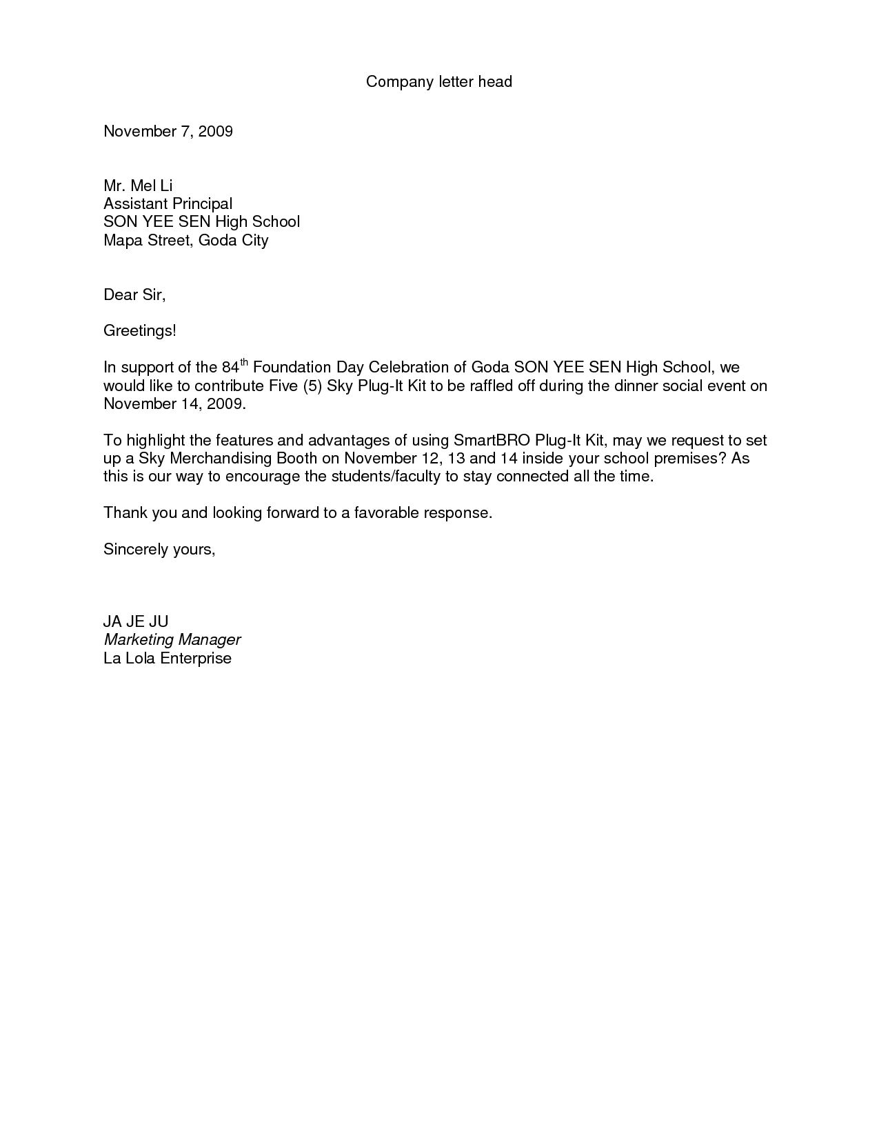 Proposal Request Letter - Sample Letter Request for Proposal