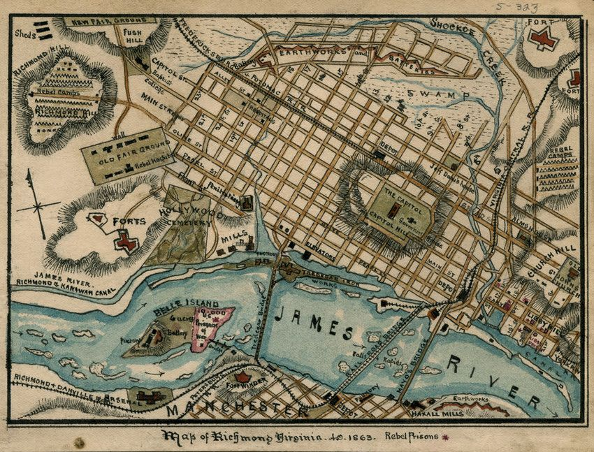 Pen and ink map of Richmond in 1863 by