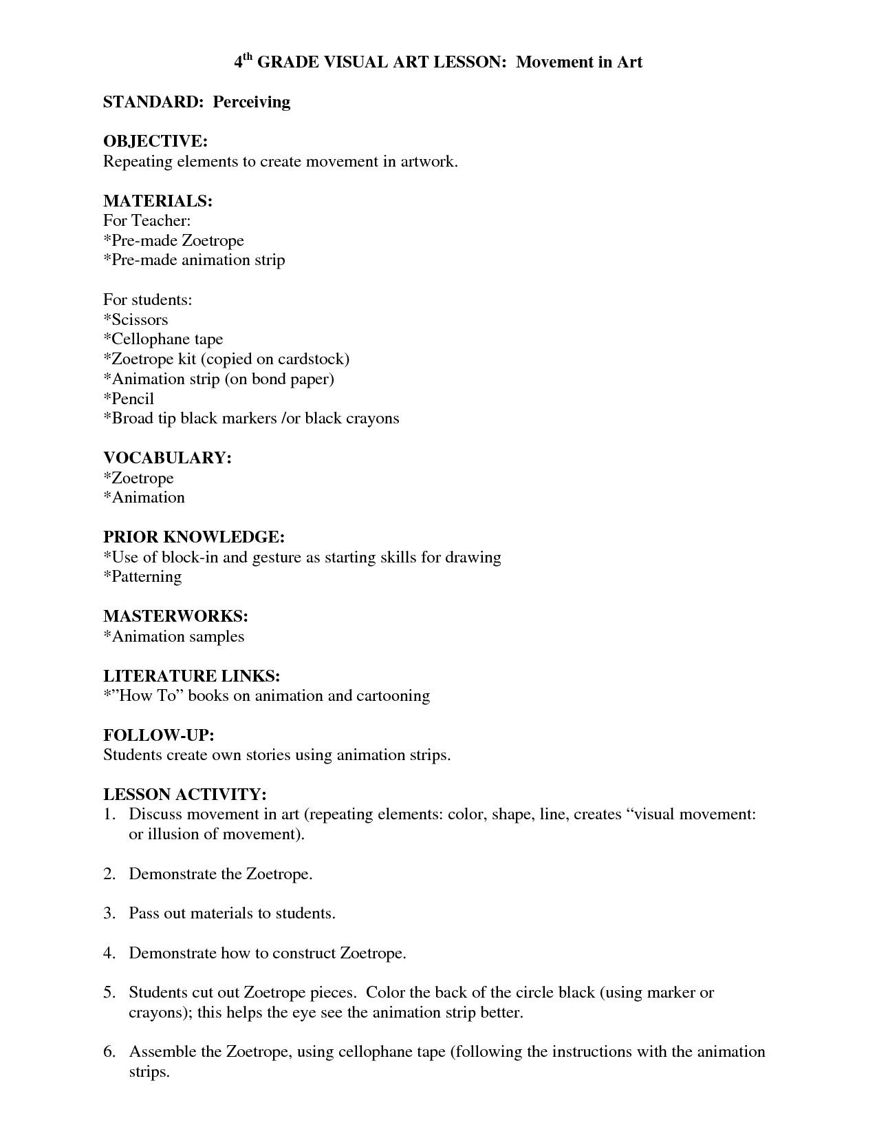 Visual Arts Lesson Plan Template  Visual Arts Lesson Plan