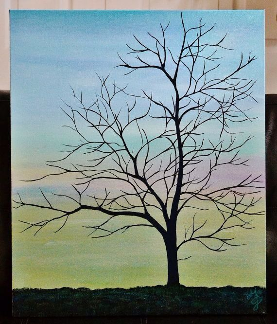 INNER PEACE 20 X 24 Acrylic Canvas Painting Tree By MiaGalleria More Silhouette Art