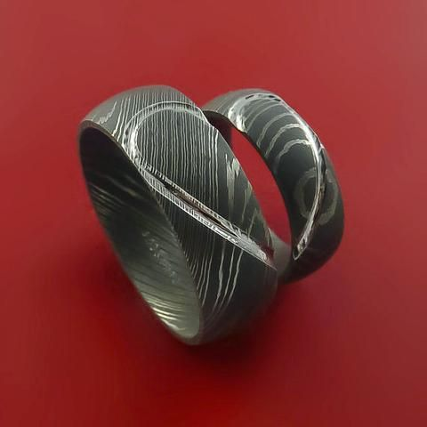 matching damascus steel heart carved ring set wedding bands genuine craftsmanship - Damascus Wedding Ring