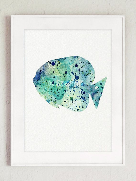 Fishes Watercolor Painting Set of 2, Blue Fish Silhouette, Oceanic ...