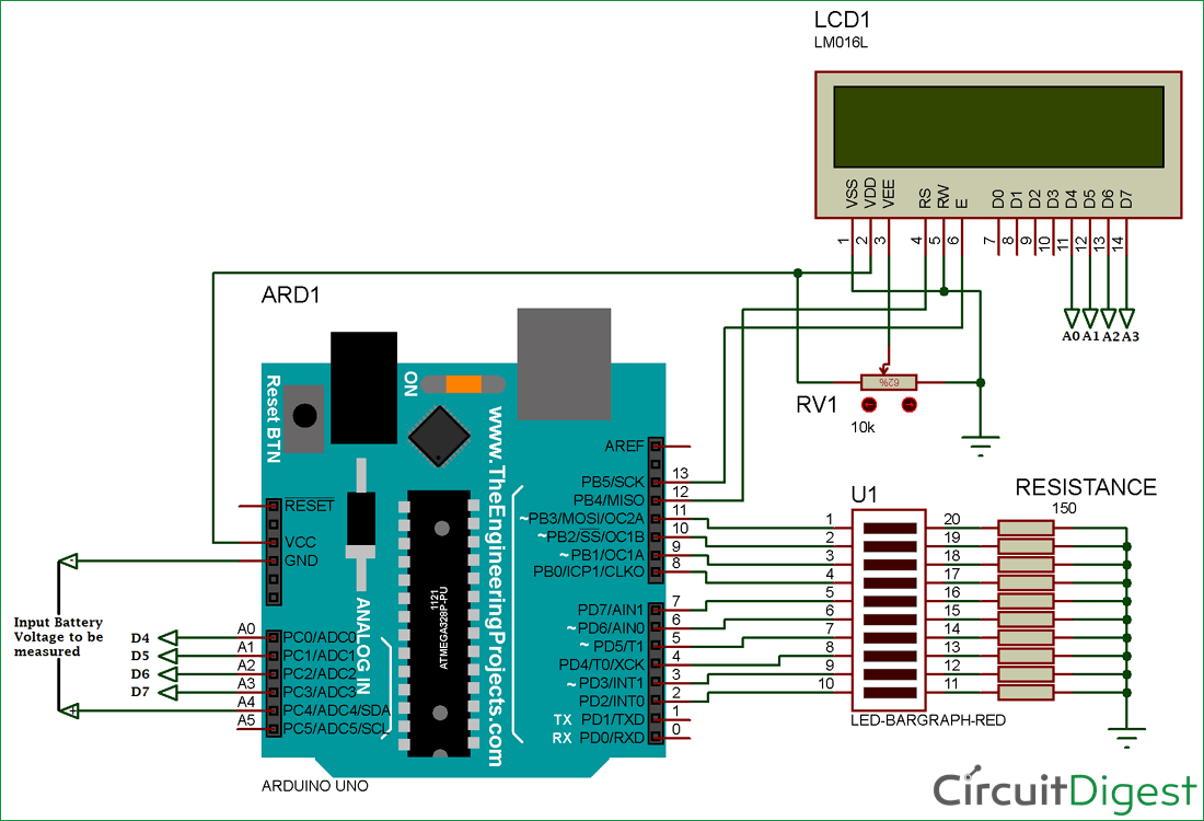 battery voltage indicator circuit diagram using arduino and led bar graph [ 1100 x 750 Pixel ]