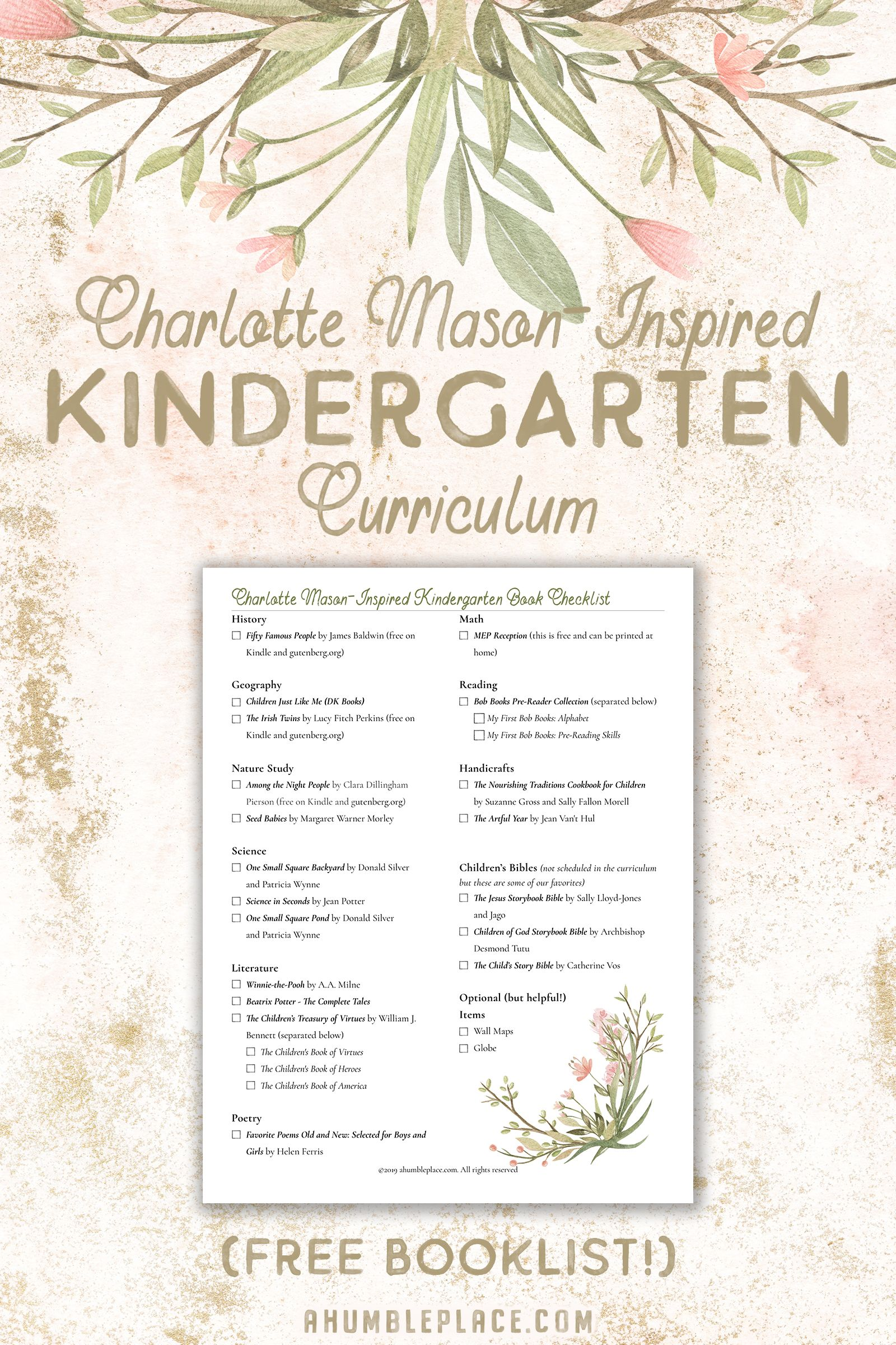 Charlotte Mason Kindergarten Curriculum · a humble place