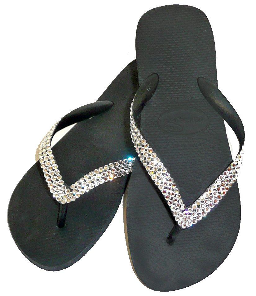 flip flops | crystal flip flops with 250 swarovski crystals crystal embellished ...