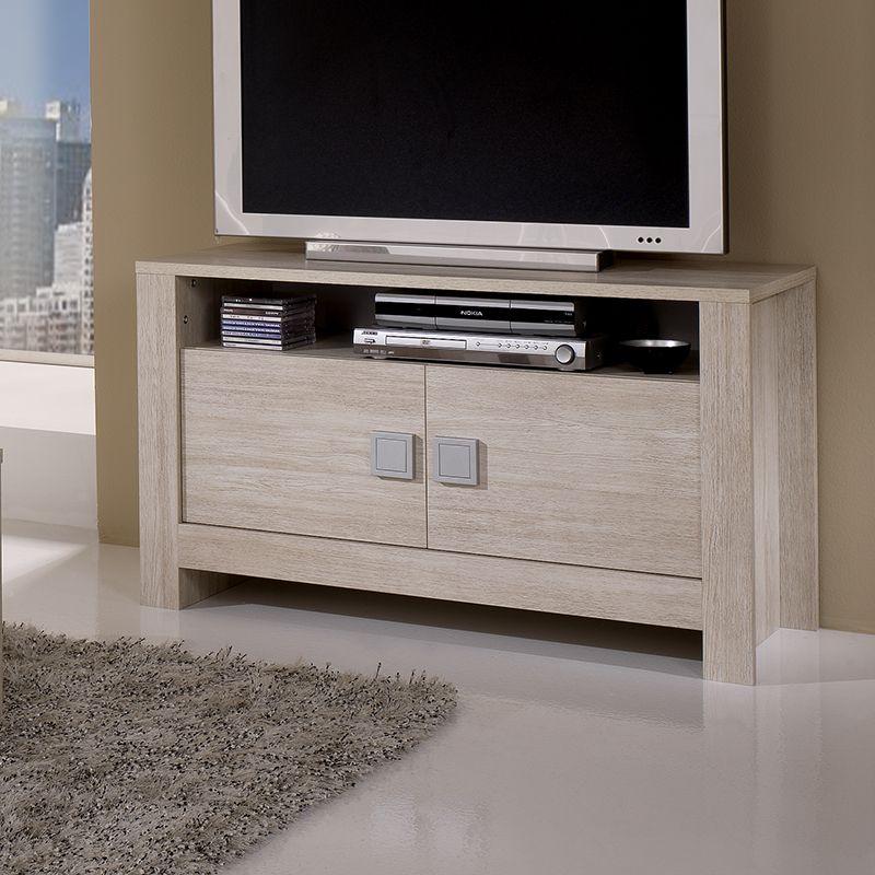 Meuble TV couleur bois blanchi contemporain OTARA