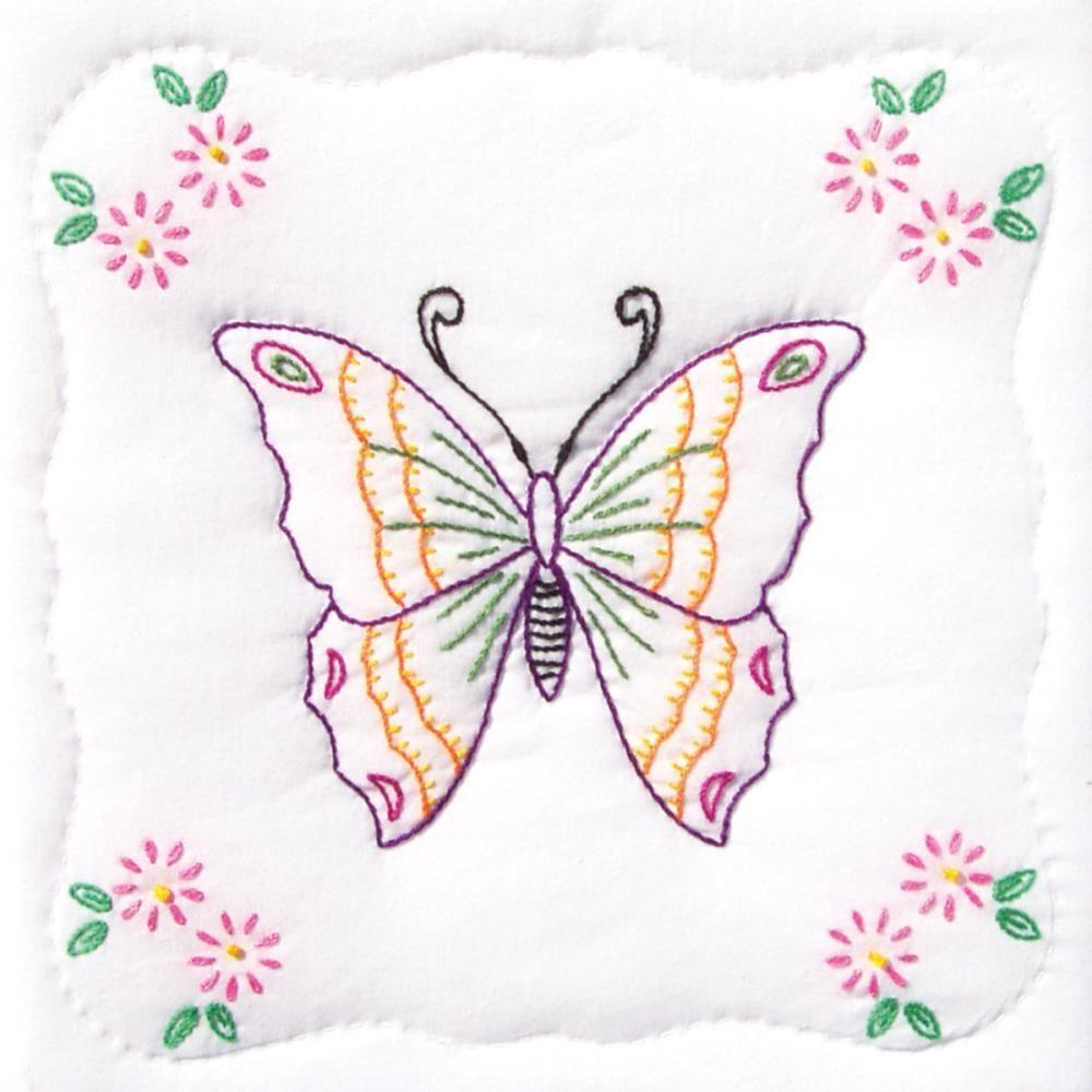 "Jack Dempsey Stamped White Quilt Blocks 9/""x9/"" 12//pkg-butterfly"