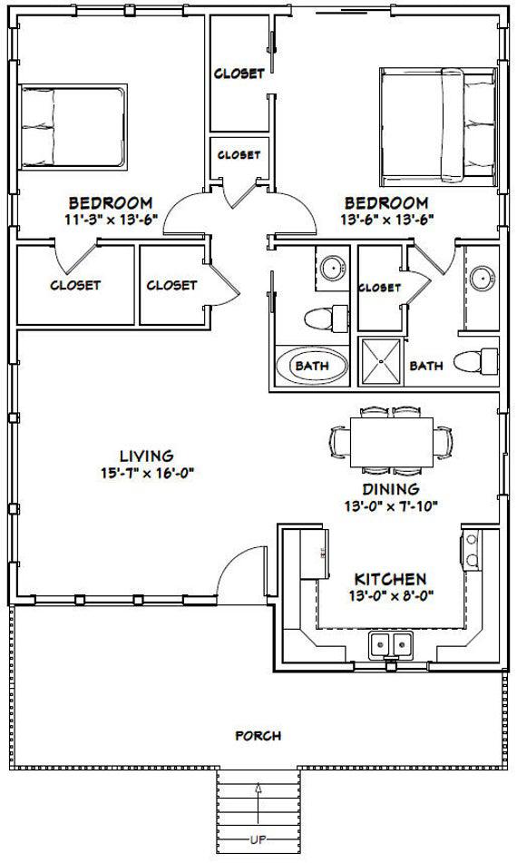 30x40 House 2 Bedroom 2 Bath 1 136 Sq Ft Pdf Floor Plan