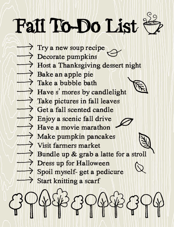 fall to do list making time for the important things fall herbst herbst diy herbstdeko. Black Bedroom Furniture Sets. Home Design Ideas