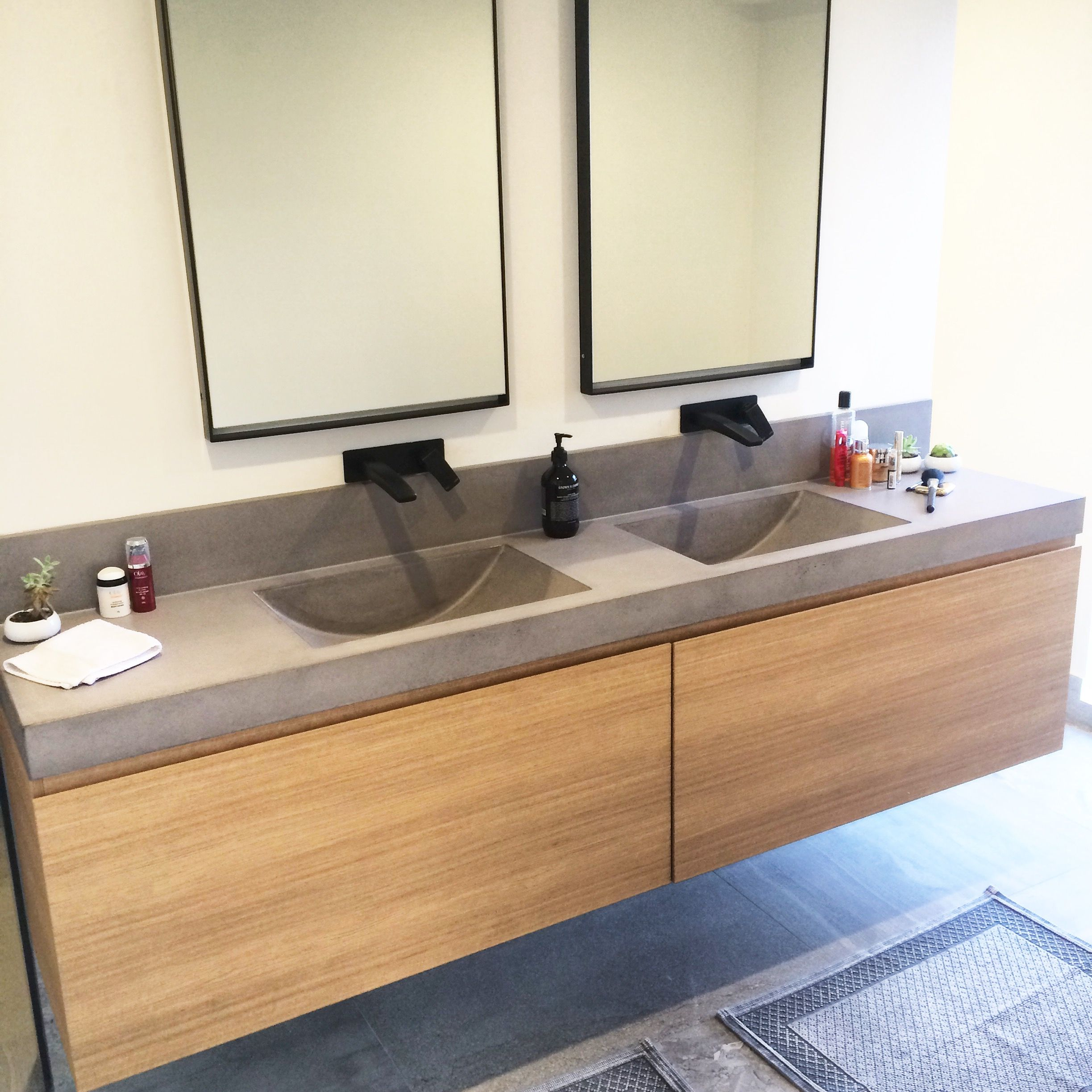 Polished Concrete Vanity Top with integrated sink by Mitchell Bink Concrete Design www