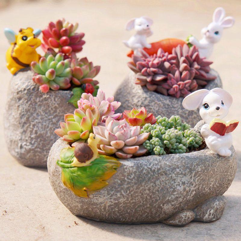 1pc Animal Resin Decorative Succulent Pot Plants Planter Frog Rabbit Bee Hedgehog Home Garden Decoration By Msdiysupplies O Flower Pots Succulents Decor Plants