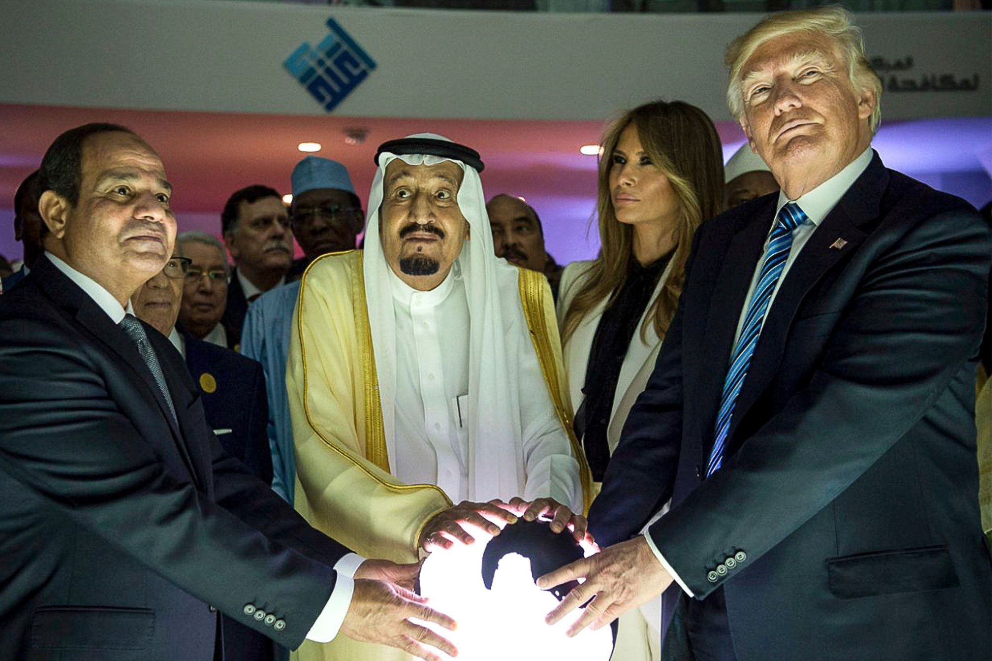 trump and saudi leaders orb meme