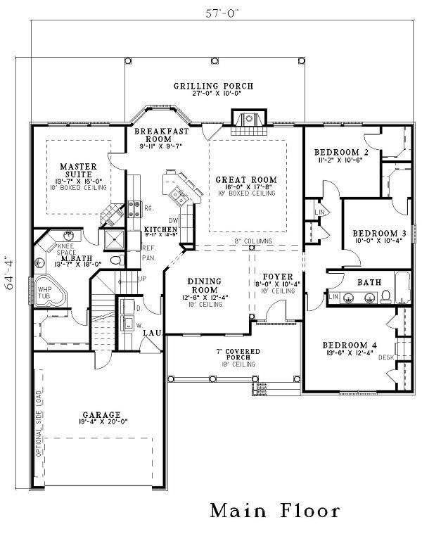 153 1440 house plan revised for grt room dimensions for House plans with dimensions