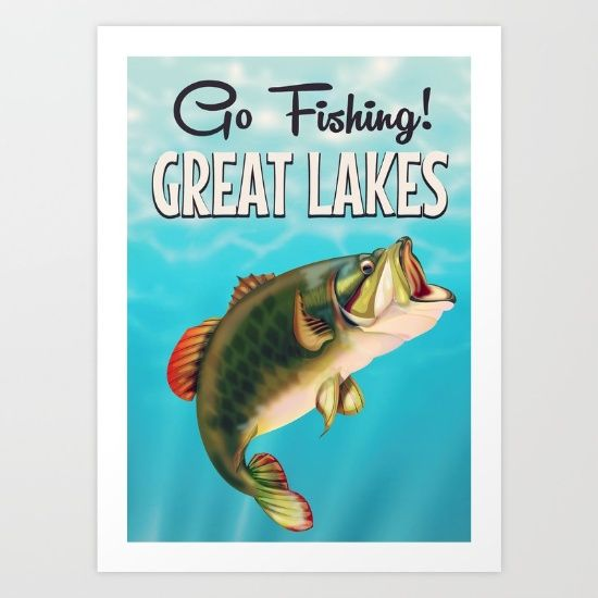 #greatlakes #usatrainposter #fishing #fishingprint #koifish Buy Great Lakes fishing vintage travel poster Art Print by Nick's Emporium . Worldwide shipping available at Society6.com. Just one of millions of high quality products available.