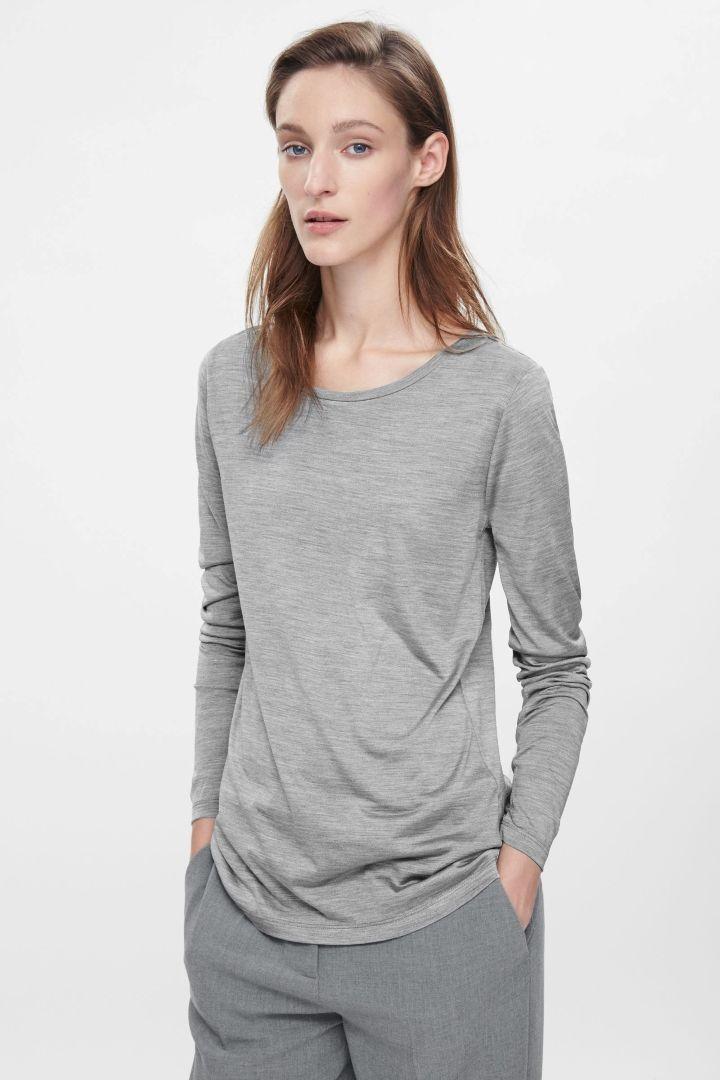 95f8790a885 COS | Long-sleeved silk t-shirt | white Tshirt