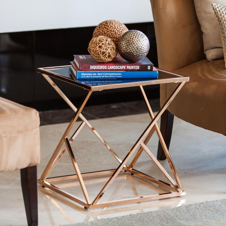 danya b square rose gold end table with