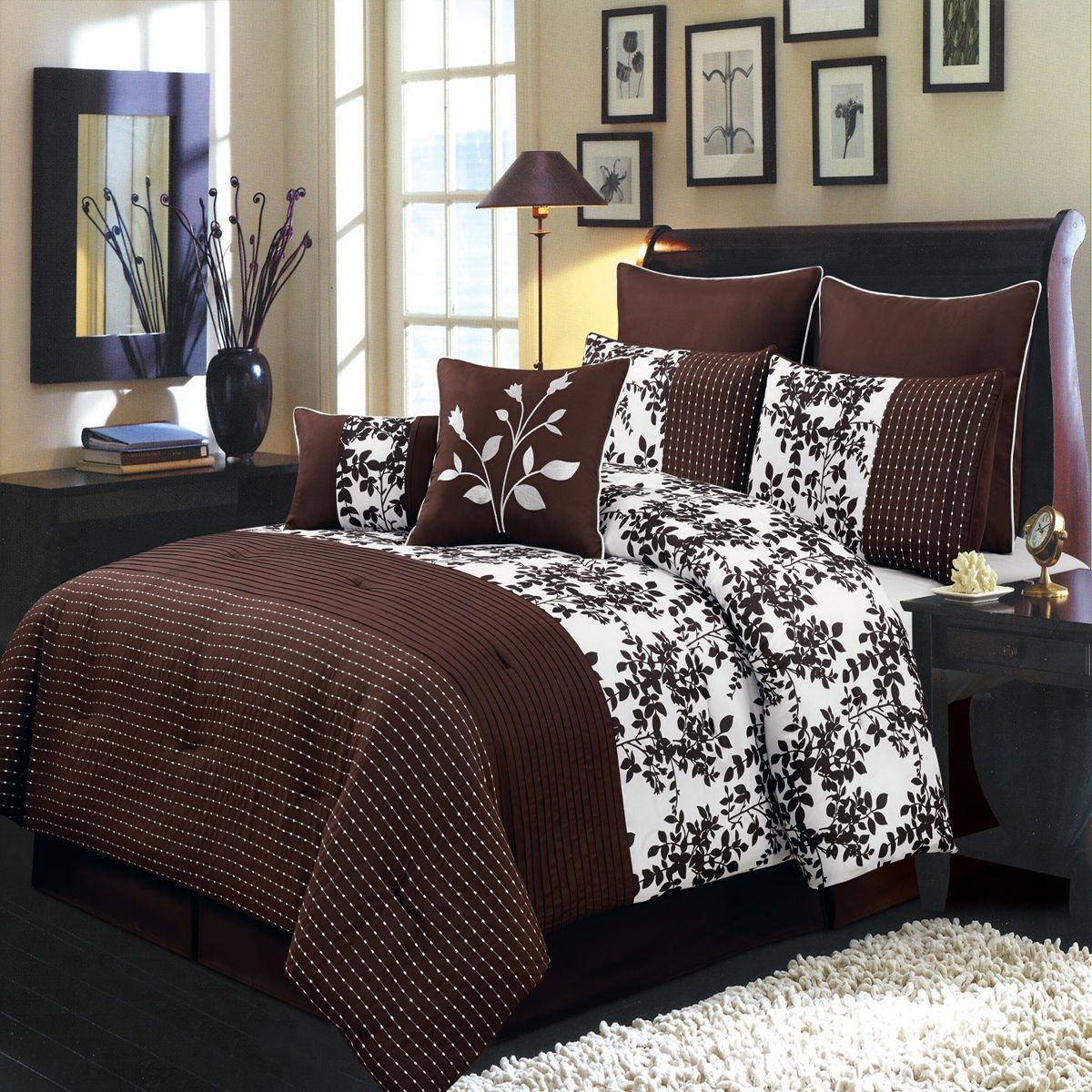 Bliss chocolate and white full size luxury piece comforter set