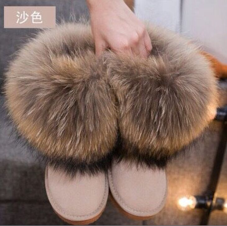 Womens Fox Fur and Short Boots