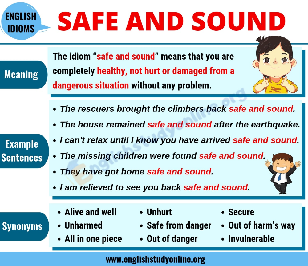 Safe And Sound Definition Useful Examples And Synonyms List English Study Online English Study Study Online English Idioms