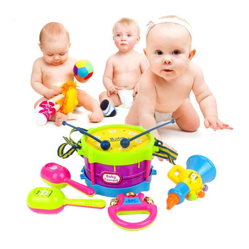 5 unids/set niños rodillo tambor cuerno música toys instrumentos musicales band kit de agarre del bebé handbell juguete del sonido del juguete educativo temprano conjunto