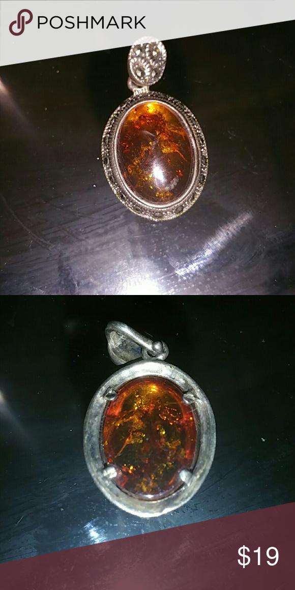 Vintage Sterling Marcasite Amber Pendant Vintage piece Marcasite and amber pendant  Bigger then a penny Jewelry Necklaces