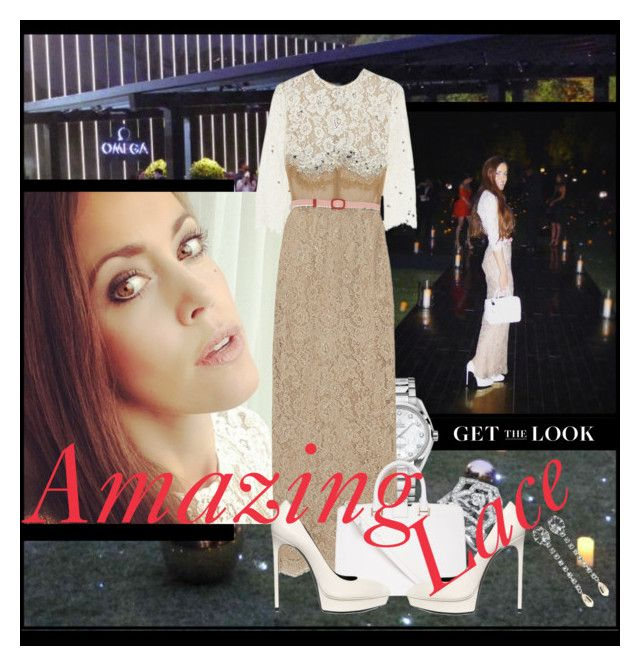 """""""Amazing Lace"""" by sandrascloset ❤ liked on Polyvore featuring Alessandra Rich, Yves Saint Laurent and Miu Miu"""